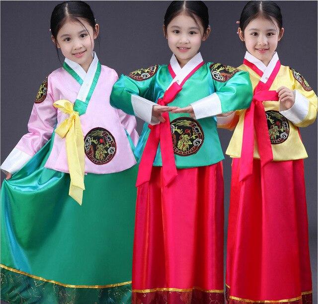 Işlemeli çocuk Kore prenses elbise Çince azınlık kostümleri kızlar kore geleneksel kostümleri hanbok sahne performansı