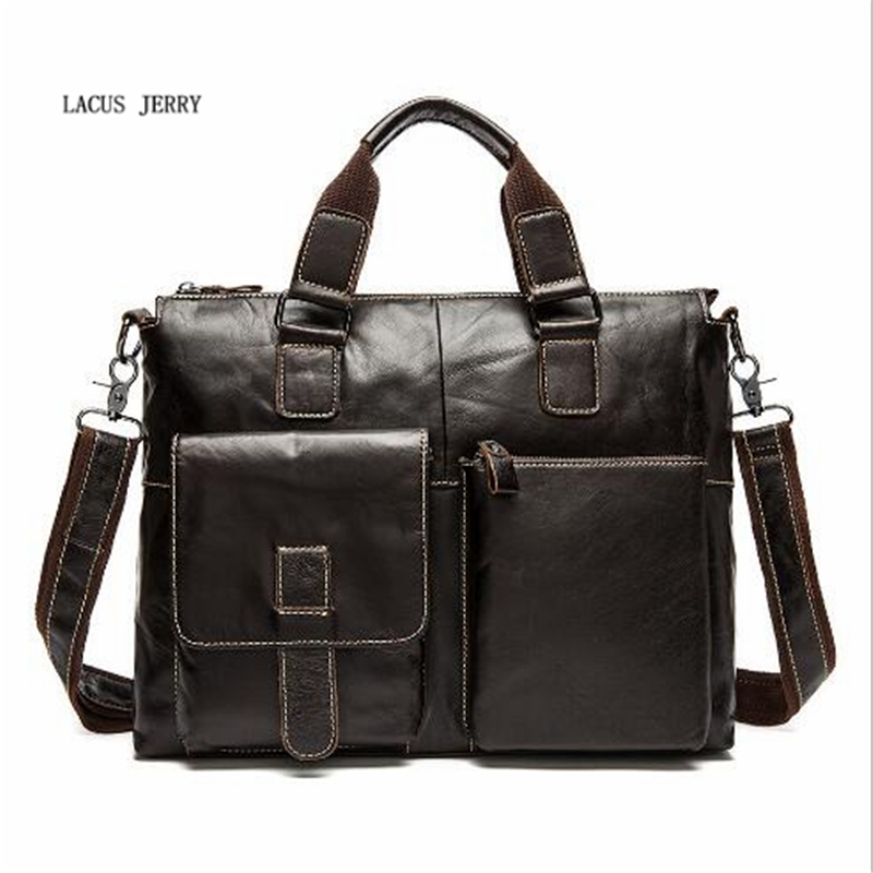 LACUS JERRY Genuine Cowhide Leather Men Bag Crossbody Bags Men's Travel Shoulder  Messenger Bag Tote Laptop Briefcases Handbags yishen genuine leather bag men bag cowhide men crossbody bags men s travel shoulder bags tote laptop briefcases handbags bfl 048