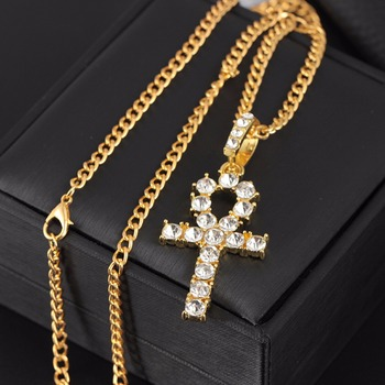 Hip Hop Stainless Steel Cross Pendant Necklace Shellhard Gold Silver Color Crystal Long Chain 1