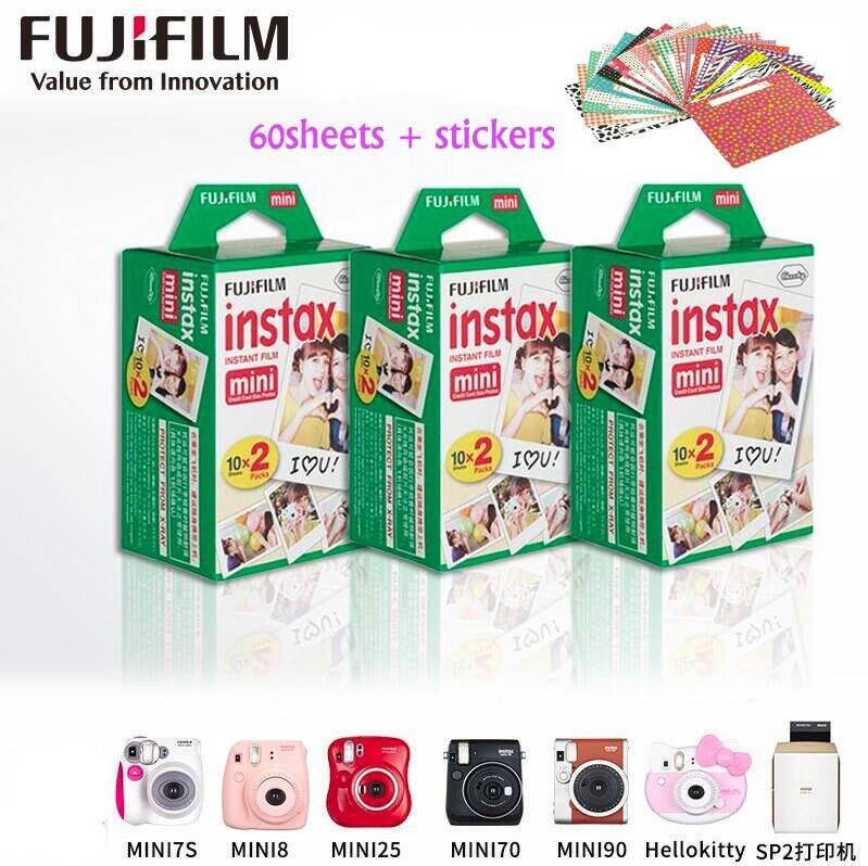 60 sheets Original Fujifilm Fuji Instax Mini Film White Sheet for Polariod mini7 7s 8 10