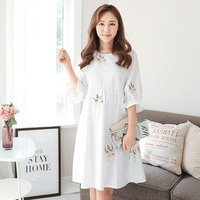 2018 Maternity Clothing Casual Women Clothes White Maternity Dress Nursing Dress short Sleeve Pregnant Women Breastfeeding Dress