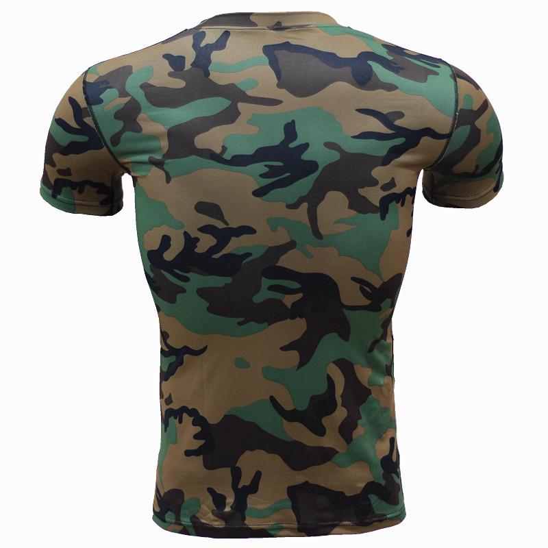 Camouflage Training Fitness Clothes Tight Garment Men's Sports Fast-Drying Elastic Compression Wear Short-Sleeved T-Shirt Summer