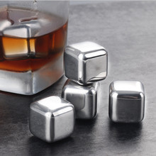 Reusable Whisky Chilling Rocks Whiskey Stones Stainless Steel Ice Cubes Whiskey Ice Cube Steel for Beer Wine Cooller free Tong whiskey whisky