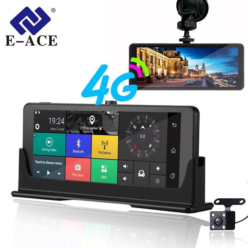E-ACE 4G автомобиля камера-видеорегистратор ADAS Android авторегистрируются с gps навигации Full HD 1080p видео Регистраторы два Камера s Vehicele