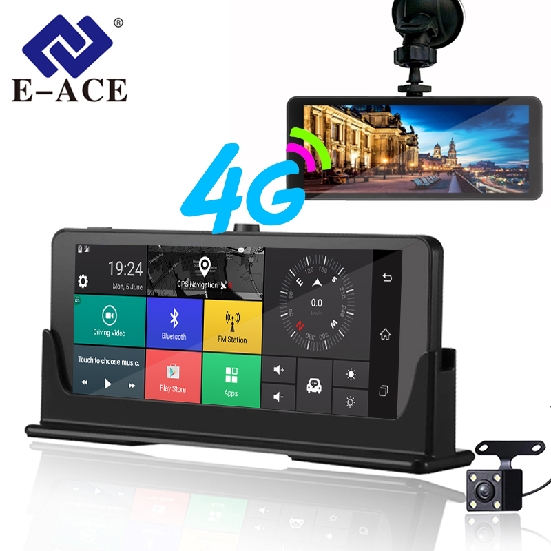 E-ACE 4G coche Dvr Cámara ADAS Android Autoregister con GPS de navegación 1080 P HD completo grabador de vídeo dos cámaras vehicele