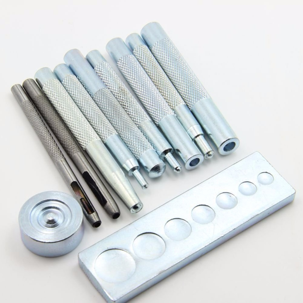 11pcs leathercraft tool die punch snap rivet setter base for Craft hole punch set