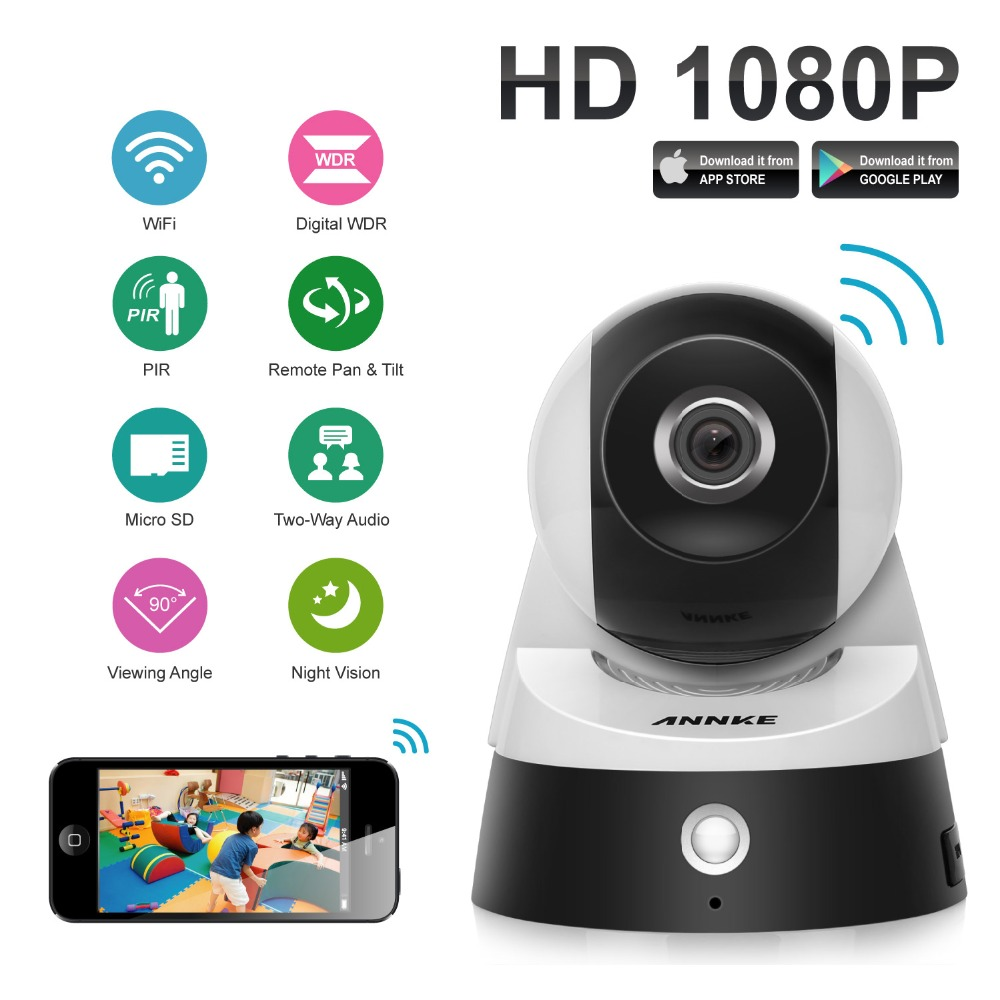 ANNKE 1080P Full HD Wireless IP Camera 2.0MP CCTV WiFi Home Surveillance Security Camera System with iOS/Android Pan Tilt Zoom