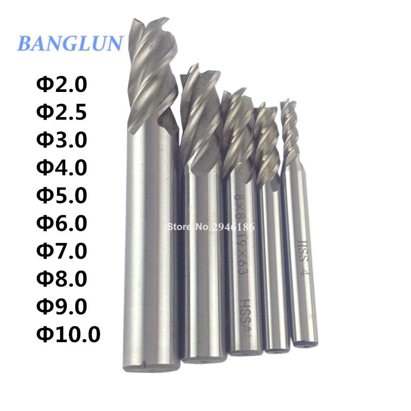 10PCS HSS 2 2.5 3 4 5 6 7 8 9 10mm Milling Cutter CNC Straight Shank 4 Flute End Mill Cutter Drill Bit 10pcs box 1 8 inch 0 8 3 17mm pcb engraving cutter rotary cnc end mill milling cuter drill bits