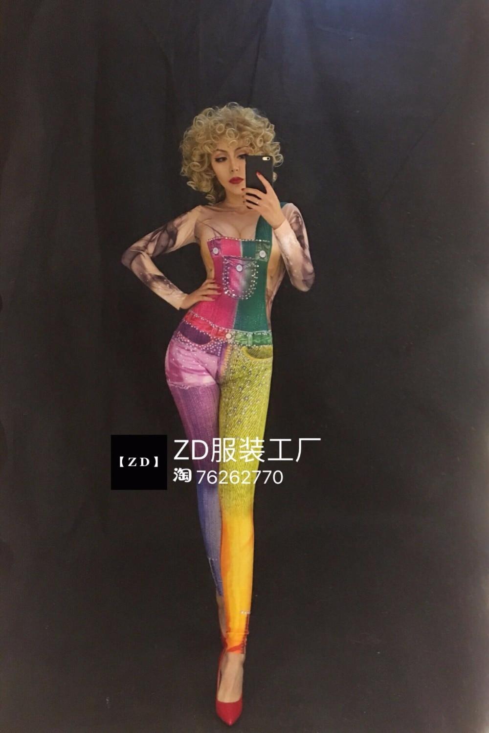 Donne 3d Discoteca Il Stampa Costume Colore Nuove Sexy Femminile Del Di Bib Festeggiare Compleanno Tights Cantante Partito Strass Ballo Tuta jL4RA5