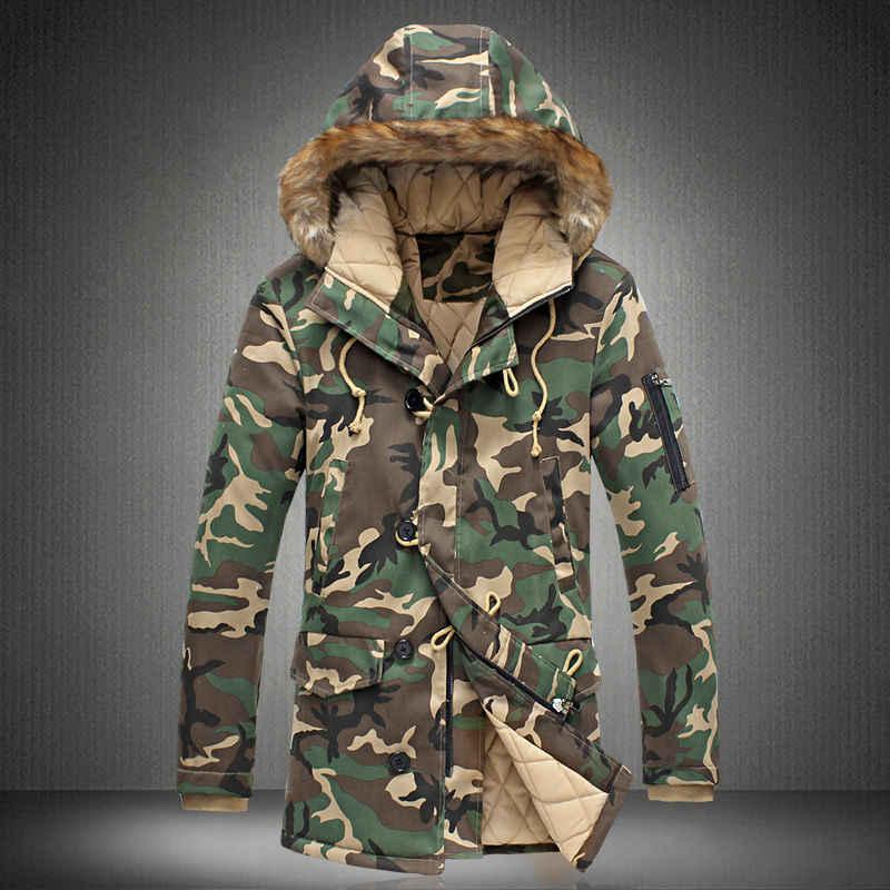 2019 חדש מותג חורף גברים עבה הסוואה מעיל גברים של דובון מעיל זכר סלעית מעיילי גברים מעיל צבאי מעיל