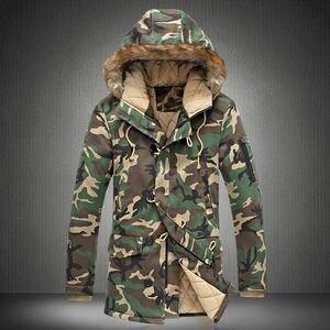 Image 1 - 2020 New Brand Winter Men Thick Camouflage Jacket Mens Parka coat Male Hooded Parkas Jacket Men Military Overcoat