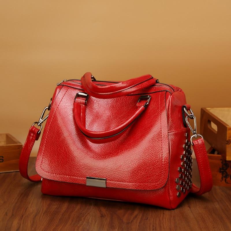 2019 High Quality Leather Ladies Handbag Rivets Small Women Boston Bag Fahsion Female Crossbody Shoulder Hot Big Bags