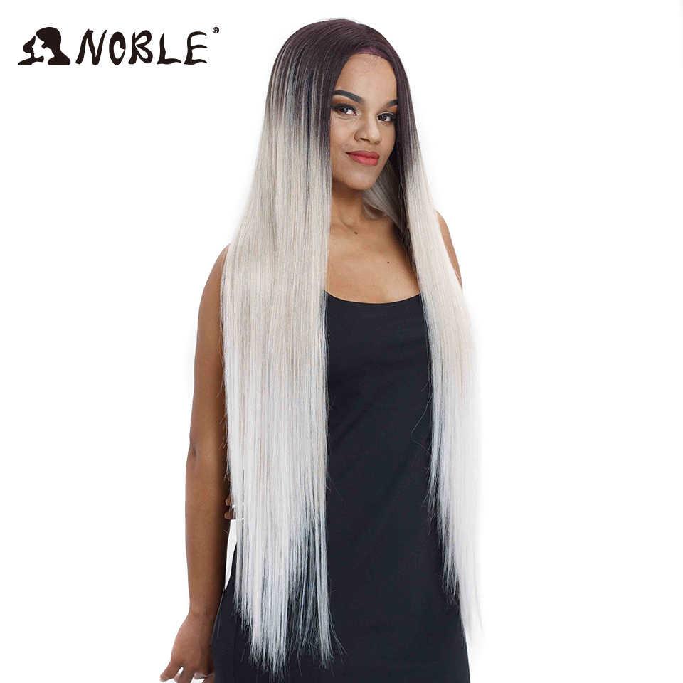 Pelucas de pelo Noble para mujeres negras pelo sintético recto frente del cordón 38 pulgadas Ombre peluca frontal del cordón Cosplay peluca delantera del cordón Rubio