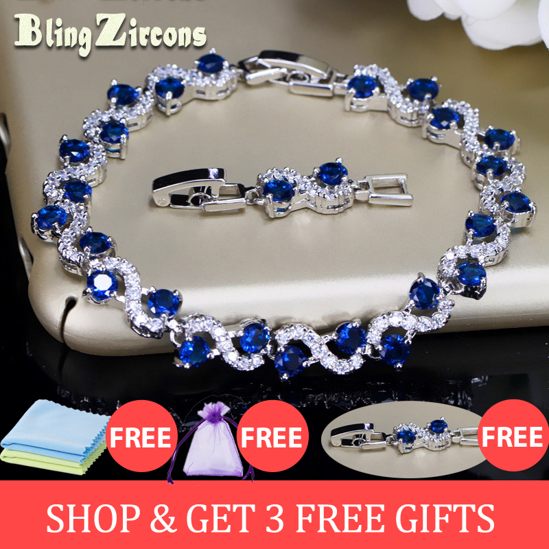 BeaQueen Büyüleyici Koyu Mavi Kristal Kadınlar Tenis Kübik Zirkonya Taş ile 925 Ayar Gümüş Bilezikler Takı B016