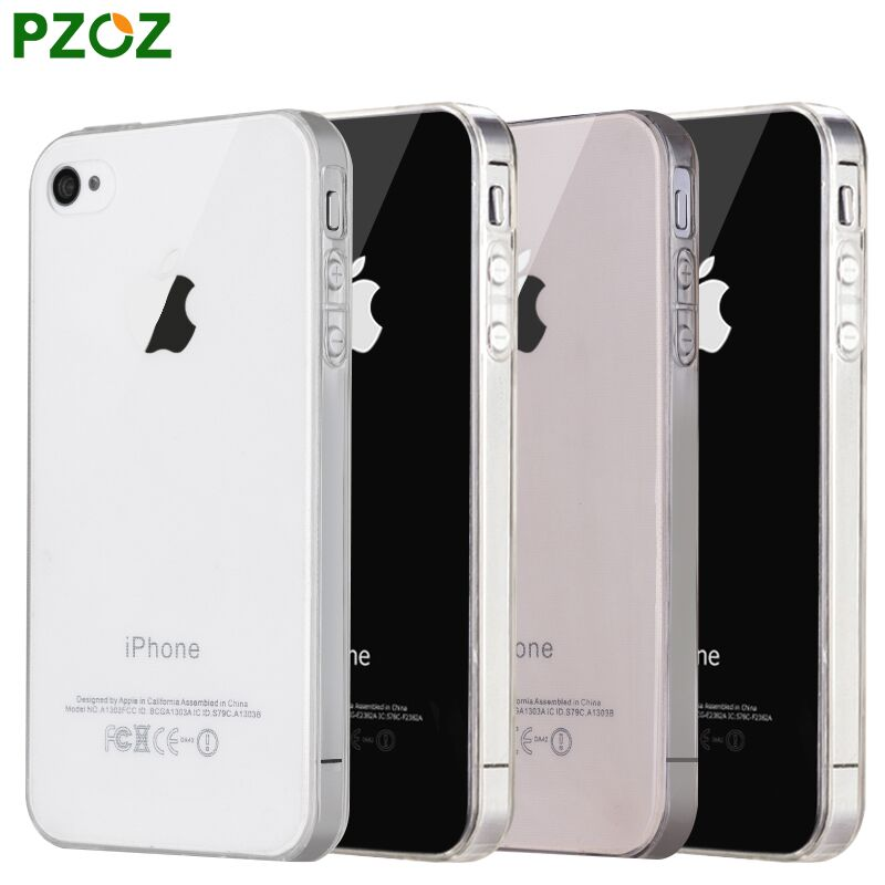 PZOZ For iphone4 Case Silicone Cover Original For iphone 4 S Slim Transparent Protection Phone Soft Shell For iphone 4s ipone 4