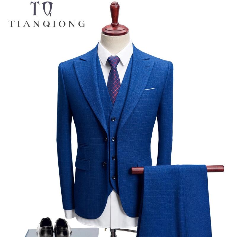TIAN QIONG 2018 3 Pieces Suit Men Plaid Korean Style S 4XL Blue/navy Blue Groom Wedding Dress Suit Costume Homme Ternos Slim Fit