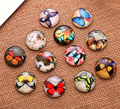 24X   16mm butterfly pattern Round  Handmade Photo Glass Cabochons & Glass Dome Cover Pendant Cameo Settings