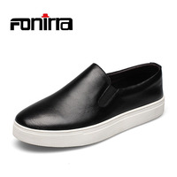 FONIRRA High Quality Genuine Leather Men Shoes Soft Moccasins Loafers White Slip On Men S Flats