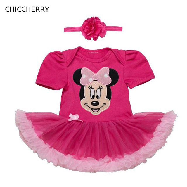 Fantasia Minnie Hot Pink Lace Petti Romper Dress Tutu with Headband Baby Girl Dresses Infant Clothes Vestido Infantil Menina