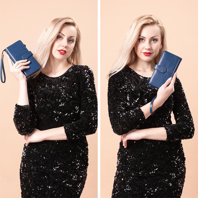 Women's Travel Long Wallet Split Leather Folding Thin With Wrist Let Strap