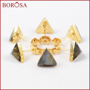 Image 4 - BOROSA 8mm Triangle Gold Color Natural Labradorite Faceted Drusy Stud Earrings, Druzy Stone Studs Earrings for Wholesale G1300