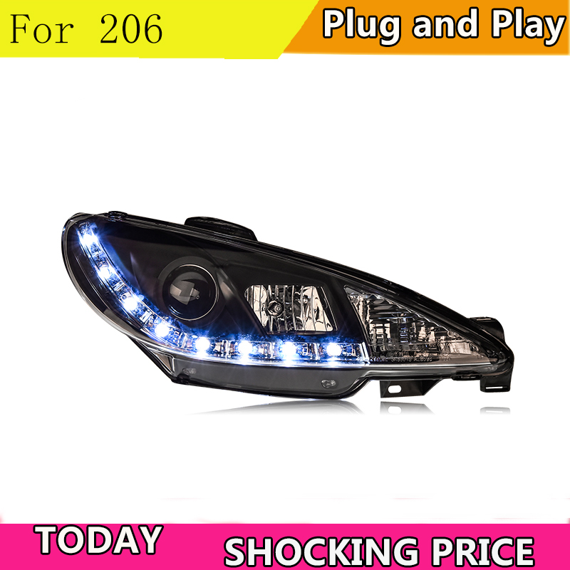 doxa Car Styling For Peugeot <font><b>206</b></font> <font><b>headlights</b></font> 2005-2008 For <font><b>206</b></font> head lamp led DRL front Bi-Xenon Lens Double Beam HID KIT image