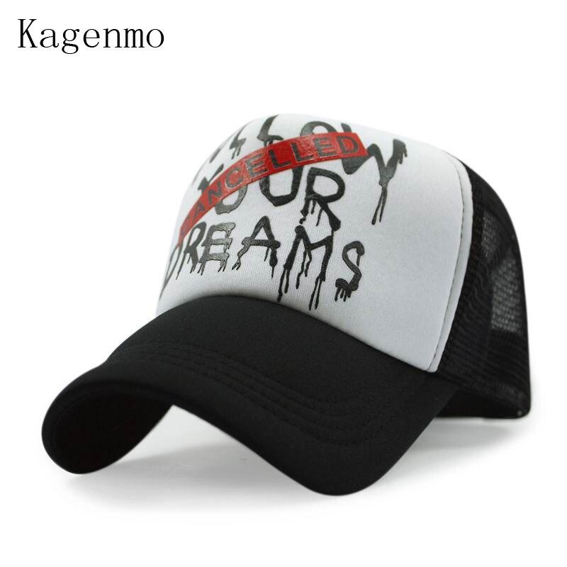 Kagenmo New Fashion Cotton Mesh Baseball Cap Follow Your Dreams Pattern Hip Hop Truck Hat  Shade Cool Unisex Sunhat