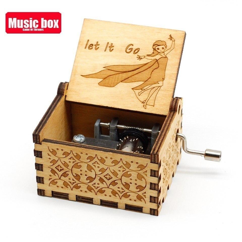 Горячая античная резная деревянная рукоятка Симпсоны игра трон музыкальная шкатулка подарок на день рождения Шкатулка анонимичность украшения Звездные войны - Цвет: Let It Go