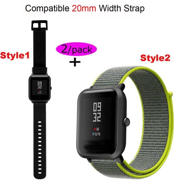 20mm רצועת שעון סיליקון לxiaomi Huami Amazfit ביפ יד צמיד עבור Samsung 20mm ניילון Pulsera קוראת עבור garmin 20 MM להקה