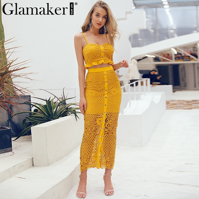 Glamaker Sexy red hollow out split two-piece suit dress Women mesh ruffle buttons tops summer bodycon lace party dress vestido