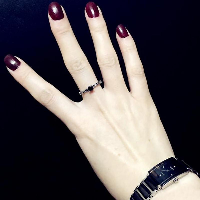 Luksuslik must kristall rõngad Vintage antiik hõbedane sõrmega - Mood ehteid - Foto 6