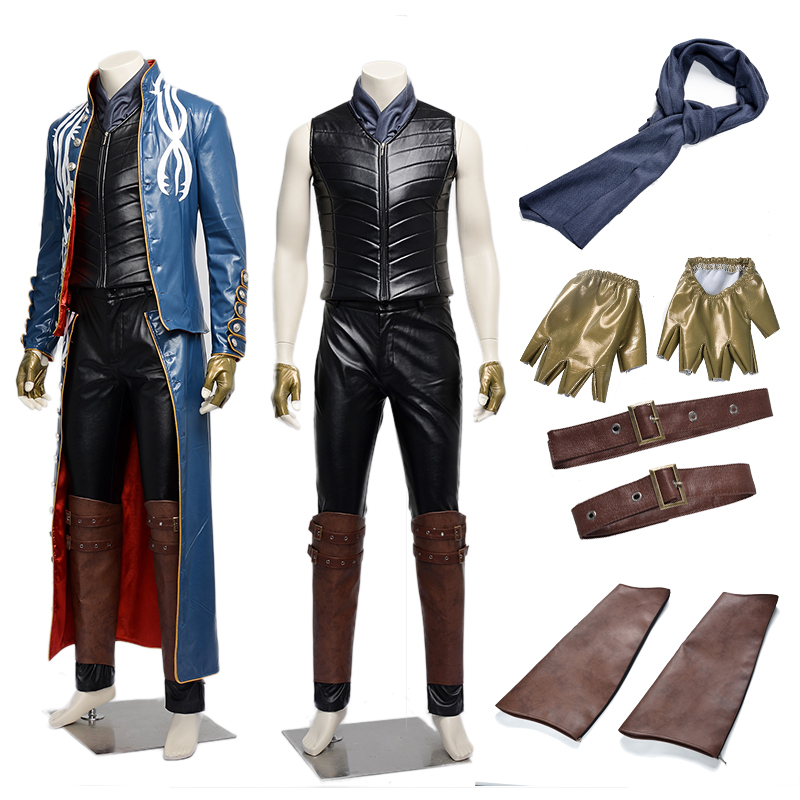 Devil May Cry 3 Vergil Cosplay Costume Men Outfit PU Leather jacket  Trench man ong coat Halloween Custom Made
