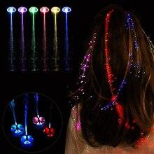 Светодиодный парик светящийся Flash Ligth волос коса клип бабочка шпилька игрушка на день рождения, Рождество подарок для детей забавная Летающая катапульта