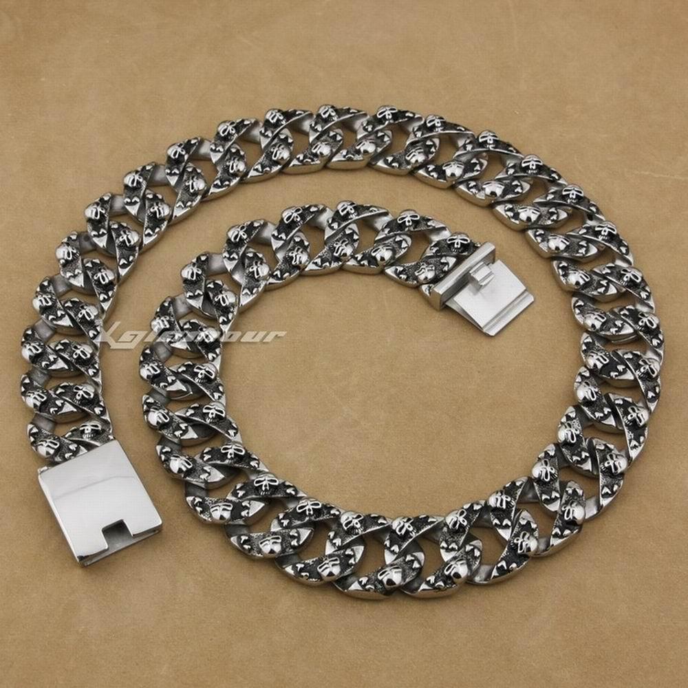 Огромный и тяжелый 316L нержавеющая сталь черепа мужские байкерское ожерелье 5F004N