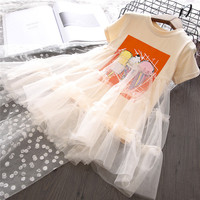 Summer New Baby Girls Short Sleeve Ice Cream Print Mesh Net Yarn Party Princess Dress Toddler Clothes 2 8Years girl dress