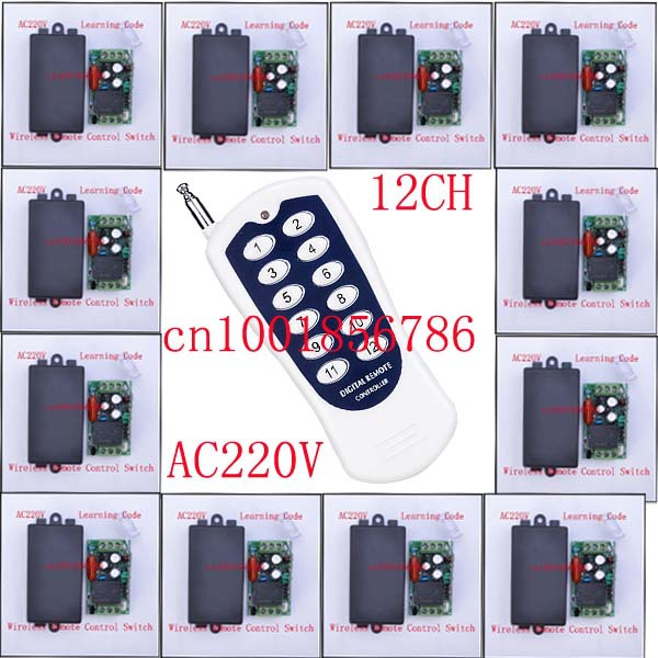 AC220V 12CH Wireless Remote Control Switch System Light/Lamp LED SMD Access Remote Control System ON OF Toggle Momentary Latched new ac 220v 30a relay 1 ch rf wireless remote control switch system toggle momentary latched 315 433mhz