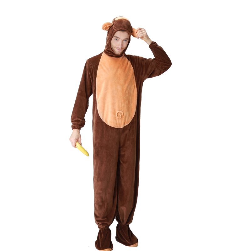 Adult Men Family Group Halloween Costume Clothing Monkey Hoodie Fleece Onesie Tail Suits Animal Funny Cosplay Jumpsuit Outfit