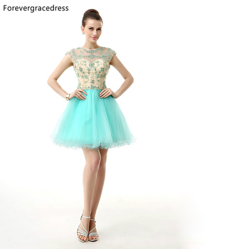 Forevergracedress 2018 Sexy Short Prom Dress Sheer Beaded Crystal Tulle Cap Sleeve Formal Party Gown Plus Size Custom Made