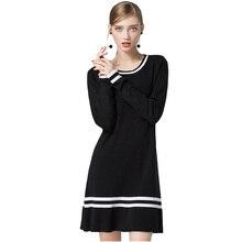 Hmchime осень 2017 г. зимние женские трикотажное платье модные пикантные Длинные рукава круглый вырез горловины черный цвет оборками женщина платье HM674