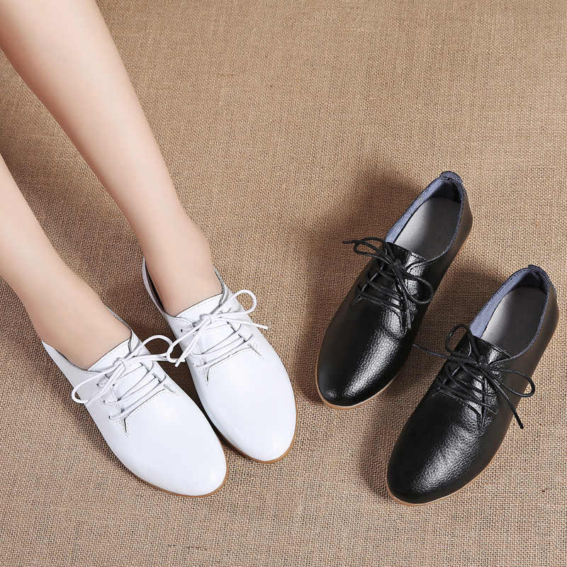 863abe5ecb ... Women Ballet Flats Shoes Sneakers Autumn Oxford Soft Genuine Leather  Lace Up Breathable Ballerina Ladies Loafers ...