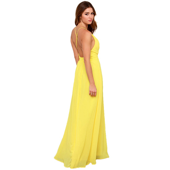 UVKKC Style Backless Dresses Women Sexy Deep V Neck Cross Back High-waist Solid Yellow Maxi Dress Long Chiffon Vestidos Female