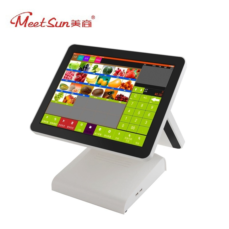 Meetsun AP-1500D Dual Side Display 15 TFT LCD Capacitive Touch Screen POS System Cash Register Computer POS Machine for Market