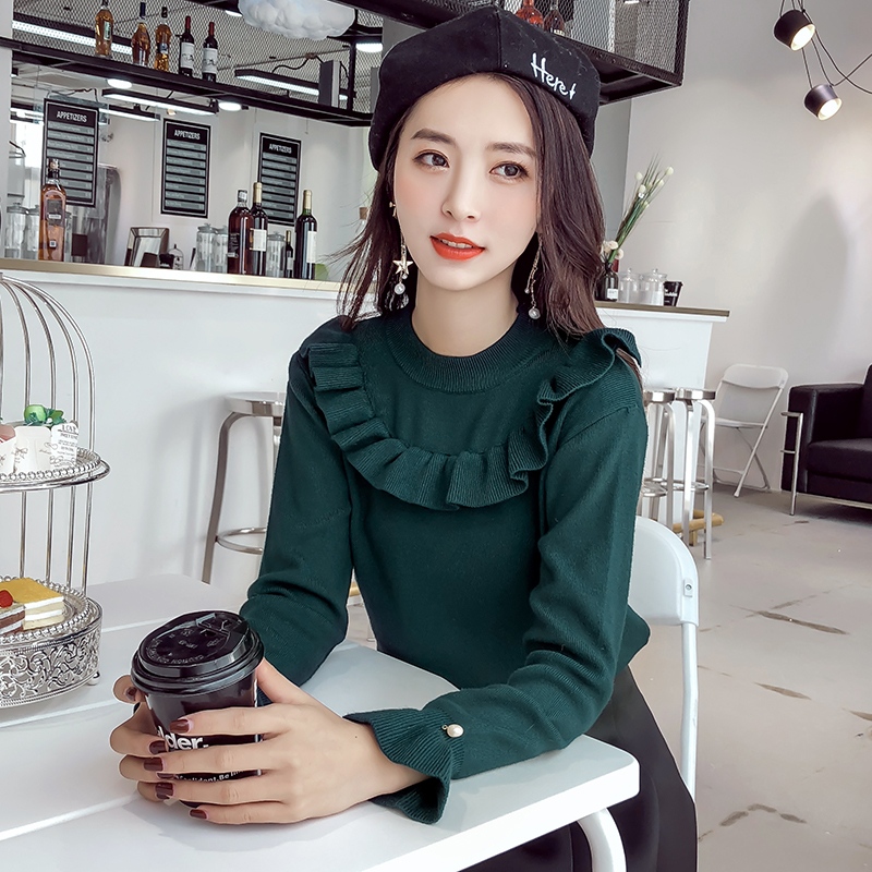 women sweater ruffles long sleeved o neck lotus leaf trumpet sleeves body repair set fashion nail bead pullovers solid female in Pullovers from Women 39 s Clothing