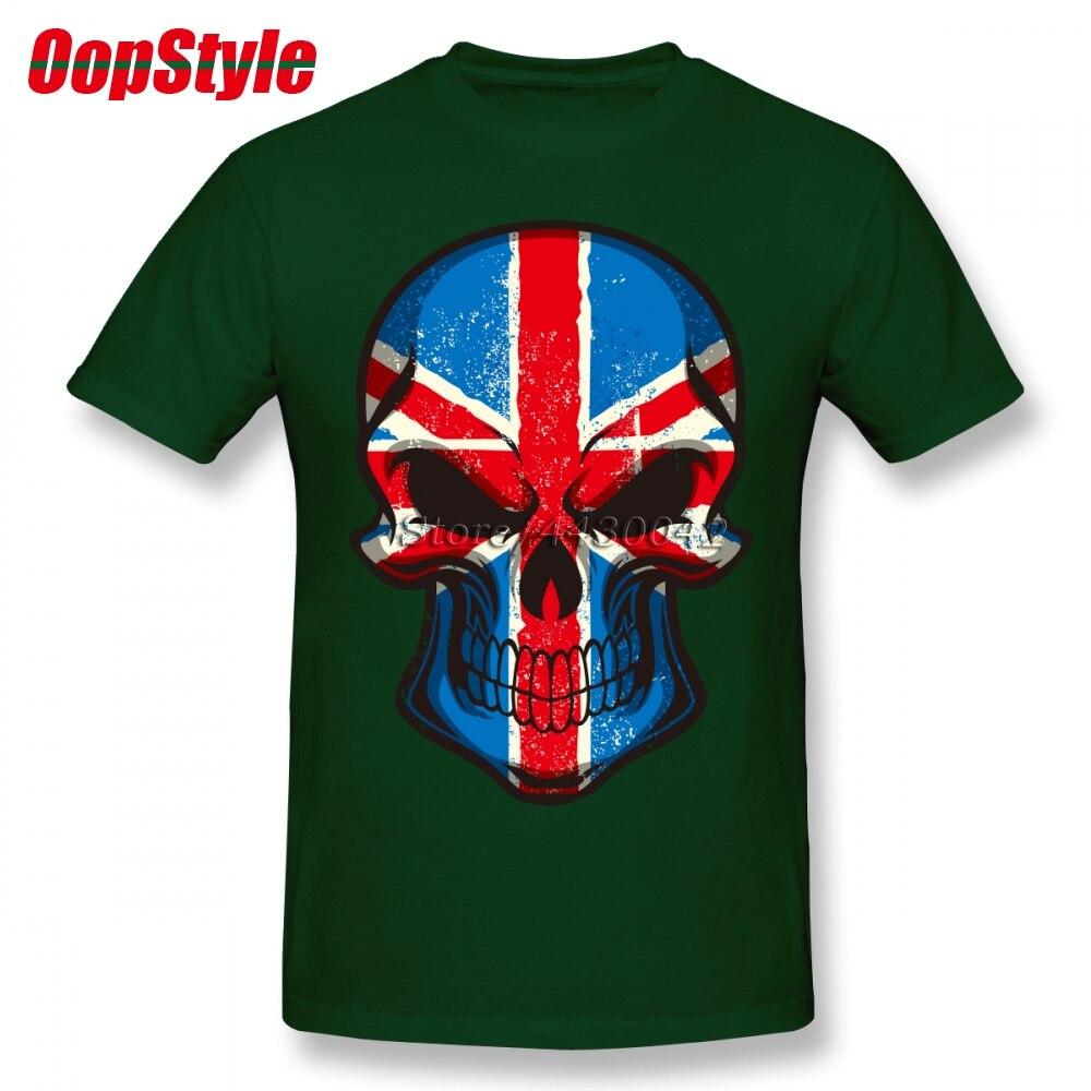 British UK Flag Skull T-shirt For Men Dropshipping Summer Short Sleeve Cotton Plus Size Custom Team Tee 4XL 5XL 6XL