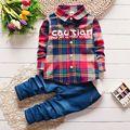 2017 Primavera Crianças Crianças Quentes Trajes Conjunto Menino Moda infantil Terno xadrez Meninos Roupas de Bebê Crianças Conjuntos de Roupas Menino de Jeans Outfits