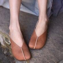 Artmu Original Spring 2019 New Female Genuine Leather Flat Shoes Retro Soft Handmade Square Toe Women hs1918-8