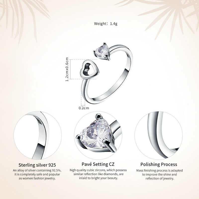 WOSTU Genuine 925 Sterling Silver Matching Hearts Shape with Clear Cubic Zircon Open Adjustable Rings for Women Gift CQR073