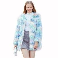 Задорина Новый Макарон волосатые пальто с искусственным мехом Для женщин в богемном стиле, большого размера длинное меховое пальто из пуши...
