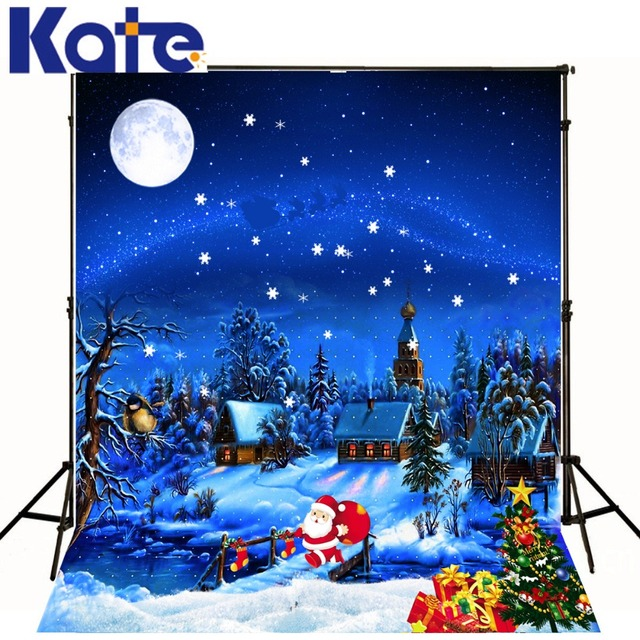 Kate Merry Christmas Backdrops Photography Dark Blue Sky Night Snow