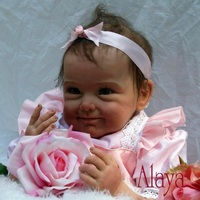 Nicery 18/20 22inch 45/50 55cm Bebe Baby Doll Reborn Soft Silicone Boy Girl Toy Reborn Baby Doll Gift for Child Pink Flower Doll
